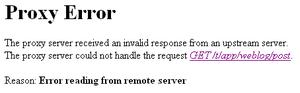 Proxy Error が発生したときの画面の例
