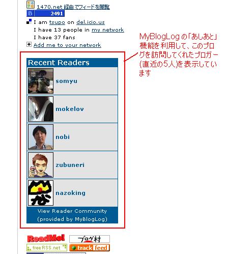 MyBlogBlog の「あしあと」機能の利用例